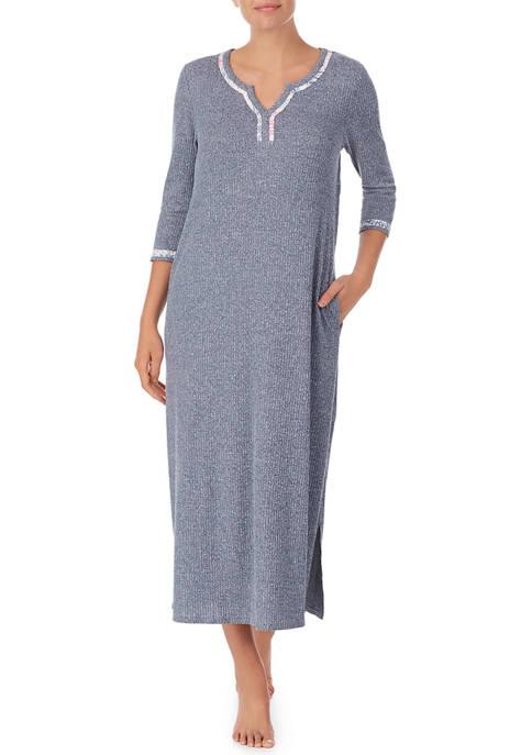 Ellen Tracy Rib Knit 3/4 Sleeve Nightgown