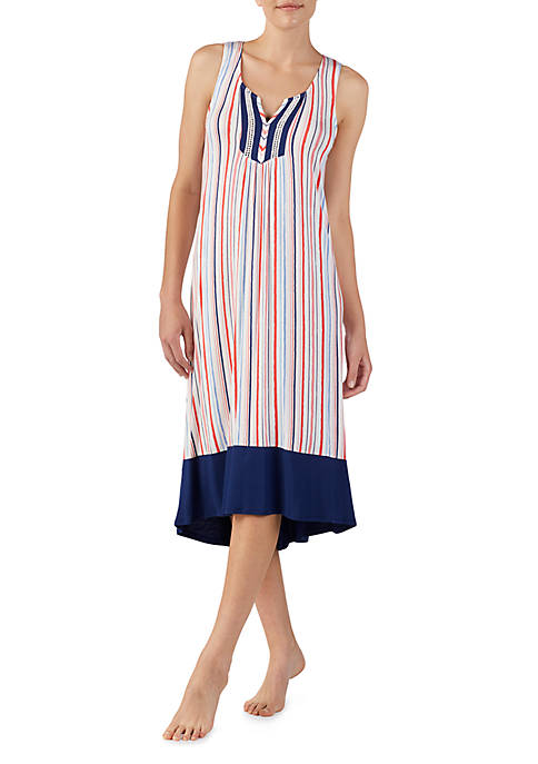 Ellen Tracy Stripe Midi Nightgown
