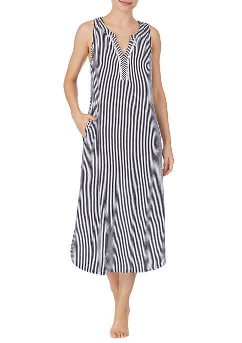 Ellen Tracy Womens Striped Midi Sleep Shirt