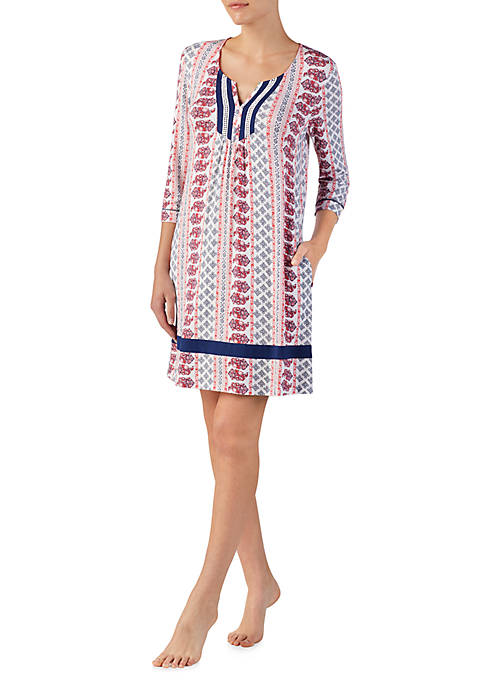 Ellen Tracy 3/4 Sleeve Boho Short Tunic