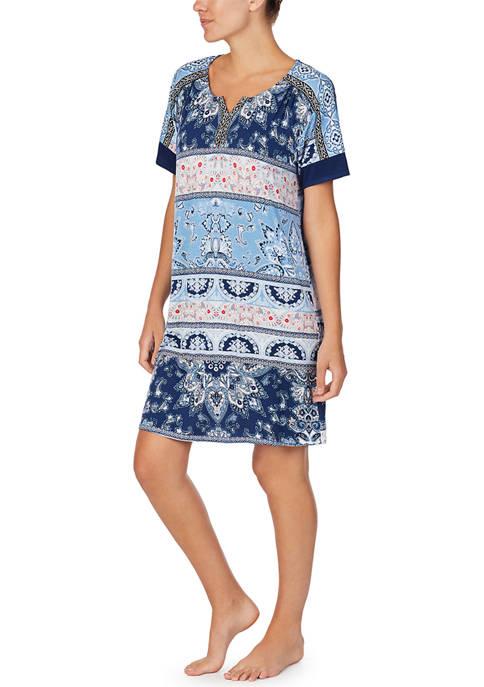 Ellen Tracy Short Sleeve Knit Sleep Tunic