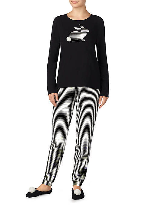 Ellen Tracy 3-Piece Cotton Pajama Set with Slippers