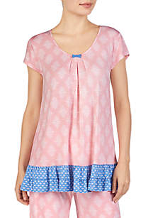 Ellen Tracy Short Sleeve Contrast Border Sleep Top