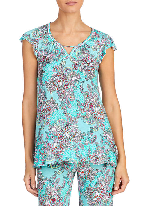 Ellen Tracy Short Sleeve Paisley Pajama Top