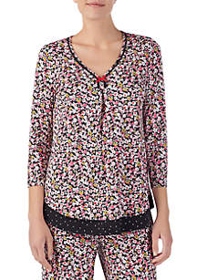3/4 Sleeve Pajama Top