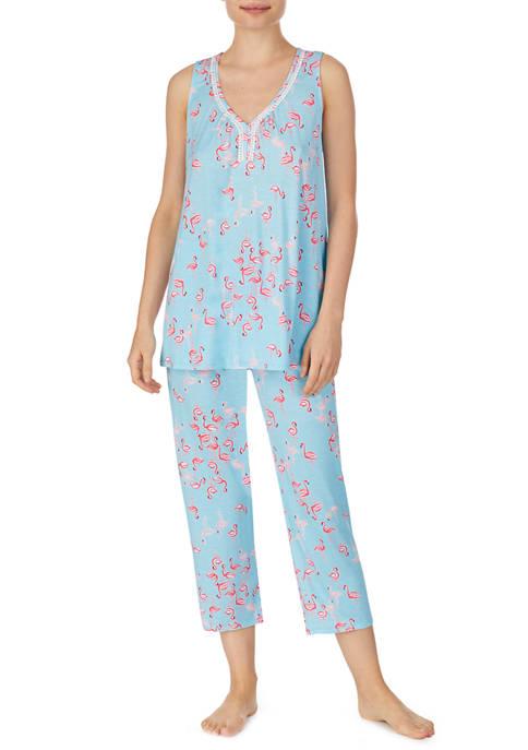 Ellen Tracy Sleeveless Flamingo Pajama Set