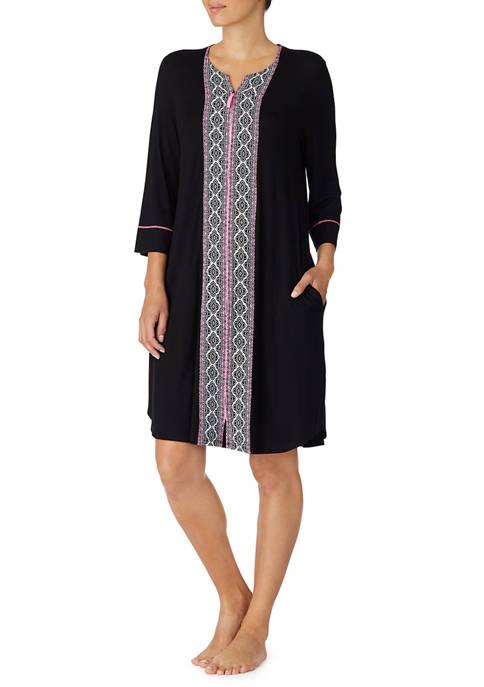 3/4 Sleeve Short Zip Robe