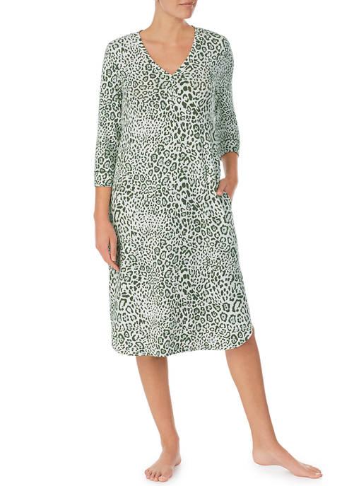 Ellen Tracy 3/4 Sleeve Animal Print Midi Nightgown