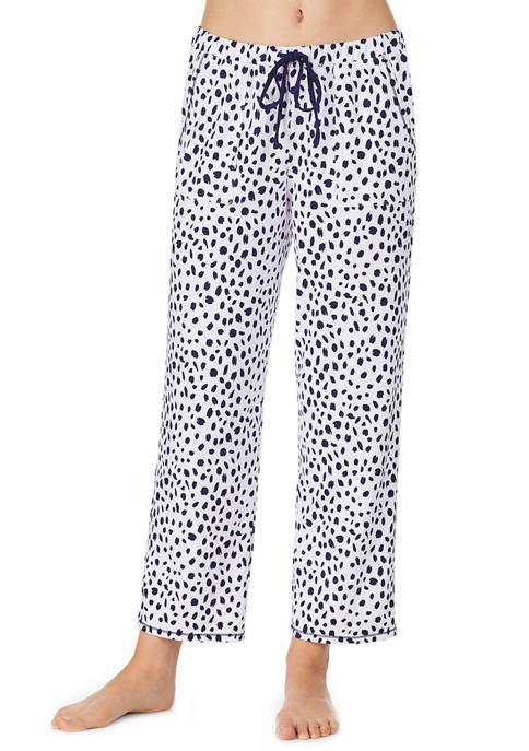 Ellen Tracy Womens Dotted Ankle Length Pajama Pants