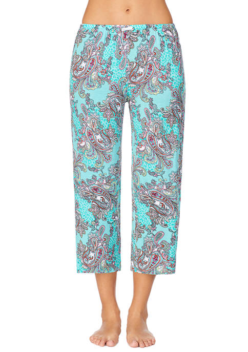 Ellen Tracy Cropped Paisley Pajama Pants