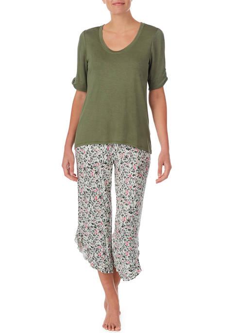 Ellen Tracy Short Sleeve Top and Floral Capris