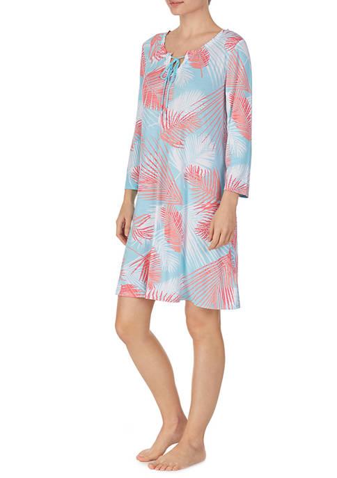 Ellen Tracy 3/4 Sleeve Leaf Print Tunic Nightgown
