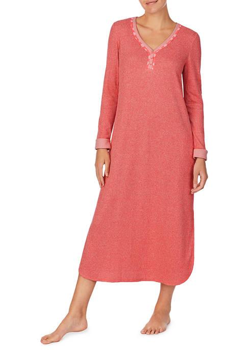 Ellen Tracy 3/4 Sleeve Ribbed Sleep Shirt
