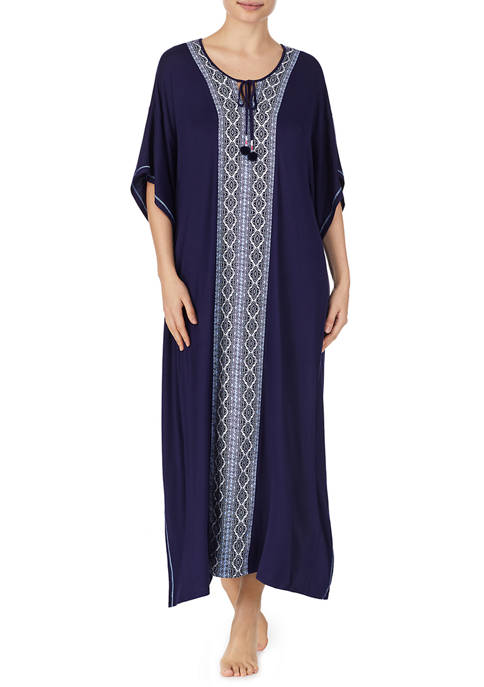 Ellen Tracy Womens Caftan Navy Nightgown