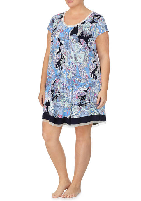 Ellen Tracy Plus Size Short Sleeve Paisley Chemise