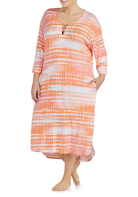 Ellen Tracy Plus Size Three-Quarter Lattice Maxi Sleepshirt