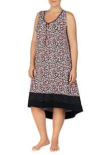 Plus Size Floral Print Gown