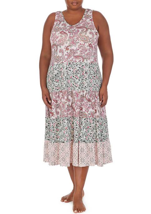 Ellen Tracy Plus Size Sleeveless Paisley Nightgown