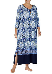 Plus Size 3/4 Sleeve Printed Sleepwear Tunic