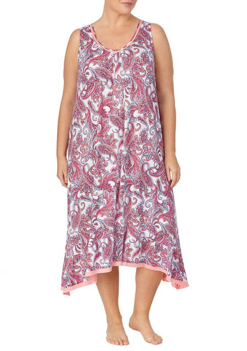 Ellen Tracy Plus Size Midi Sleep Gown with