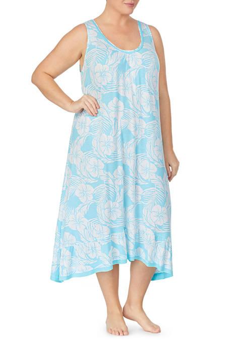 Ellen Tracy Plus Size Midi Sleep Gown with