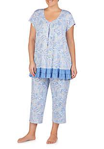 Ellen Tracy Plus Size Short Sleeve Contrast Border Sleep Top
