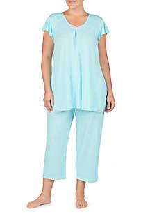 Ellen Tracy Plus Size Short Sleeve Pajama Top