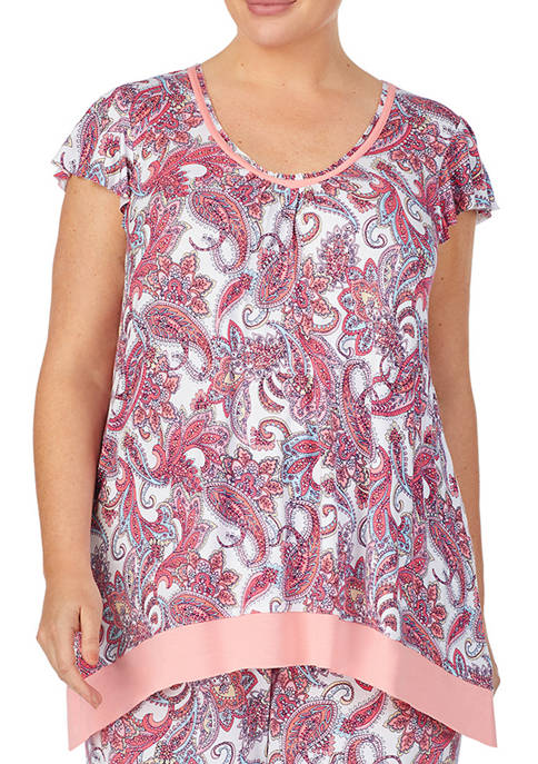 Ellen Tracy Plus Size Short Sleeve Paisley Sleep