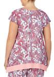 Plus Size Short Sleeve Paisley Sleep Top