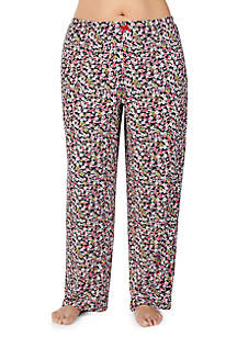 Plus Size Brushed Floral Print Pants