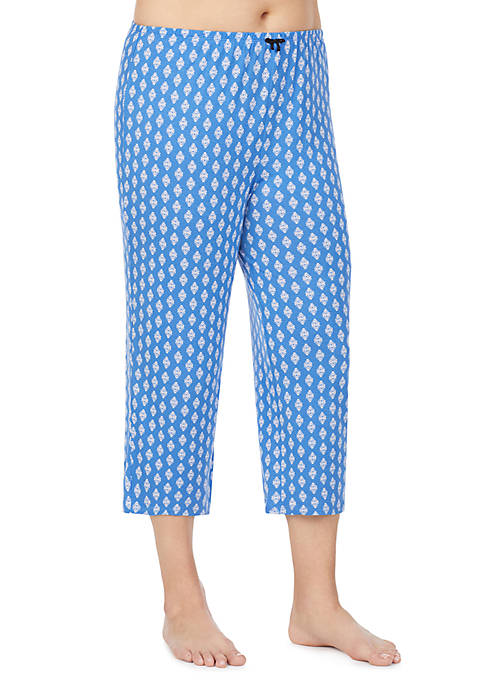 Ellen Tracy Plus Size Blue Geo Crop Pants