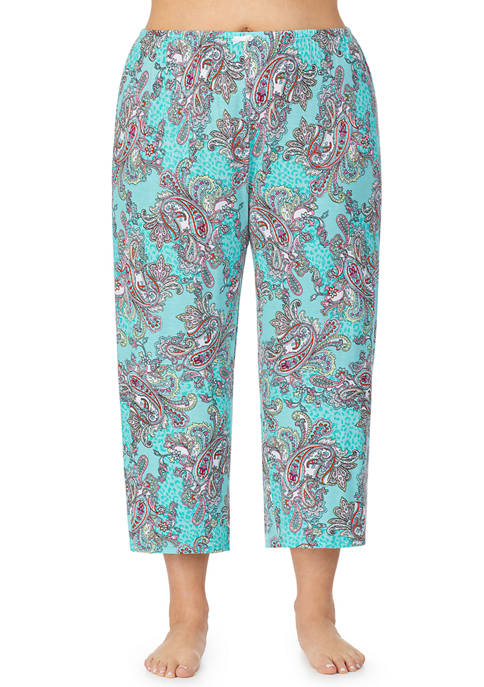 Plus Size Cropped Paisley Pajama Pants