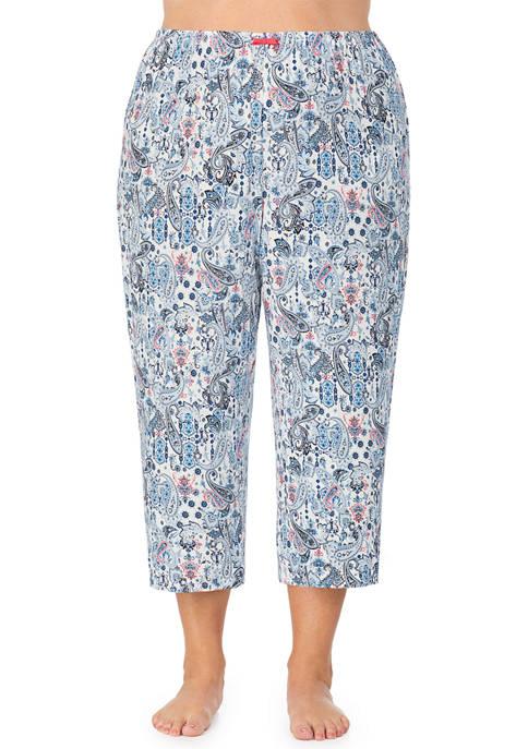 Ellen Tracy Plus Size Cropped Pajama Pants