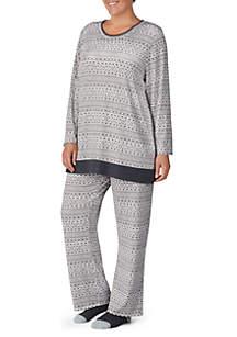 Plus Size 2-Piece Long Sleeve Pajama Set