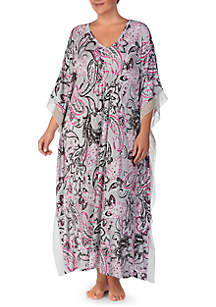Plus Size Paisley Print Sleep Caftan