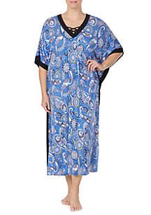 Ellen Tracy Plus Size Blue Multi Caftan