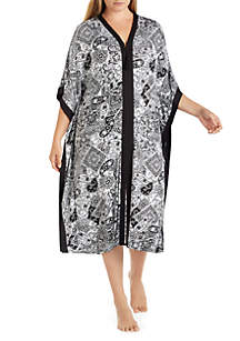 Ellen Tracy Plus Size Paisley Long Caftan
