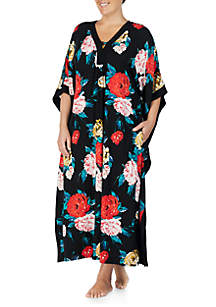 Plus Size Floral Print Sleep Caftan
