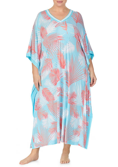 Ellen Tracy Plus Size Leaf Sleep Caftan