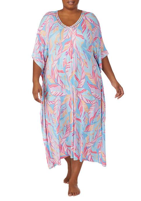 Ellen Tracy Plus Size Long Caftan Sleep Gown
