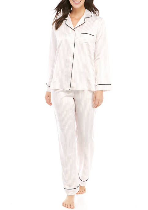 California Dynasty Womens Stripe Satin Notch Collar Pajama