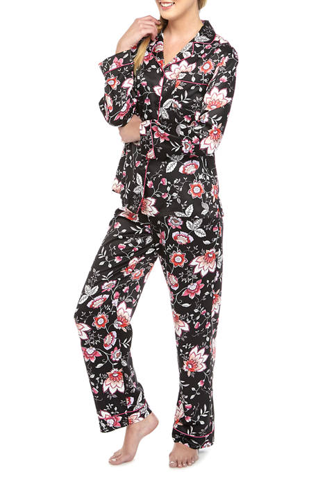 Linea Donatella Womens Floral Satin Notch Pajama Set