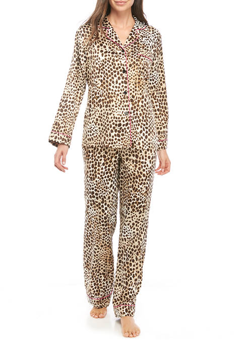 California Dynasty Womens Animal Satin Notch Pajama Set
