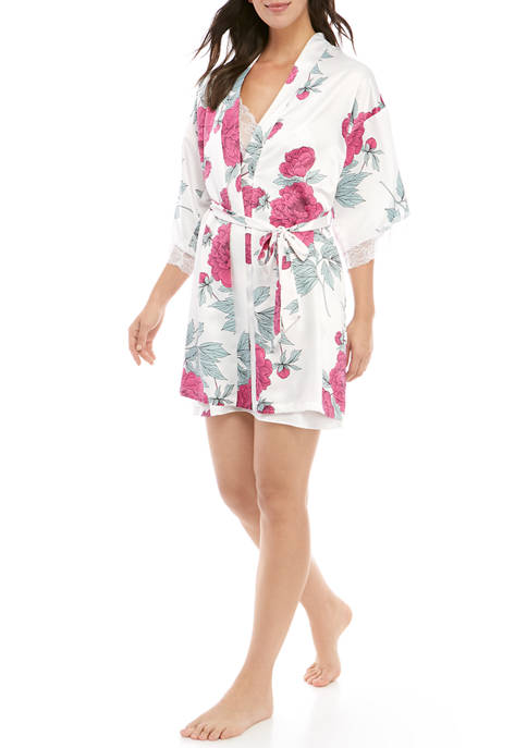Linea Donatella Womens Satin Wrap Robe