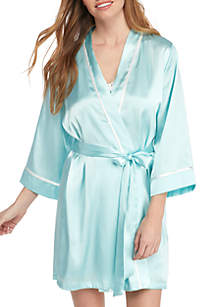 Linea Donatella Bridal Knit Tank & Satin Boxers Pajama Set and Bridal Wrap Robe