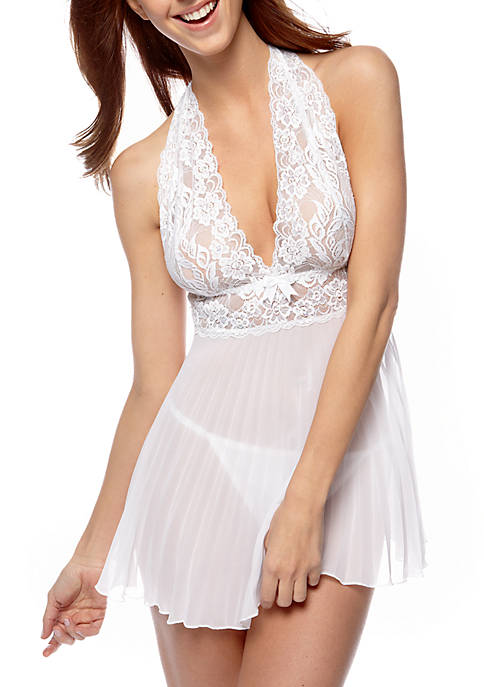 Cinema Etoile Lace and Pleated Baby Doll
