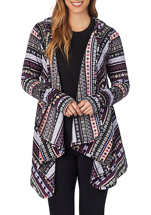 Fleecewear with Stretch Long Sleeve Hooded Wrap Up