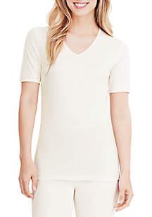 Softwear Lace Edge Short Sleeve V-Neck Tee