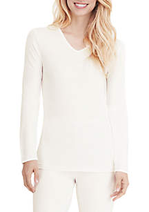 Softwear Lace Edge Long Sleeve V-Neck Top