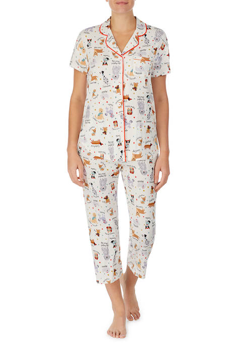 Cuddl Duds® Short Sleeve Notch Collar Pajama Set